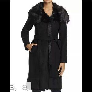 Vince Camuto FAux fur trim belted coat black S